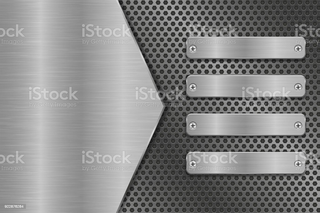 Metal background with long rivetted plates vector art illustration