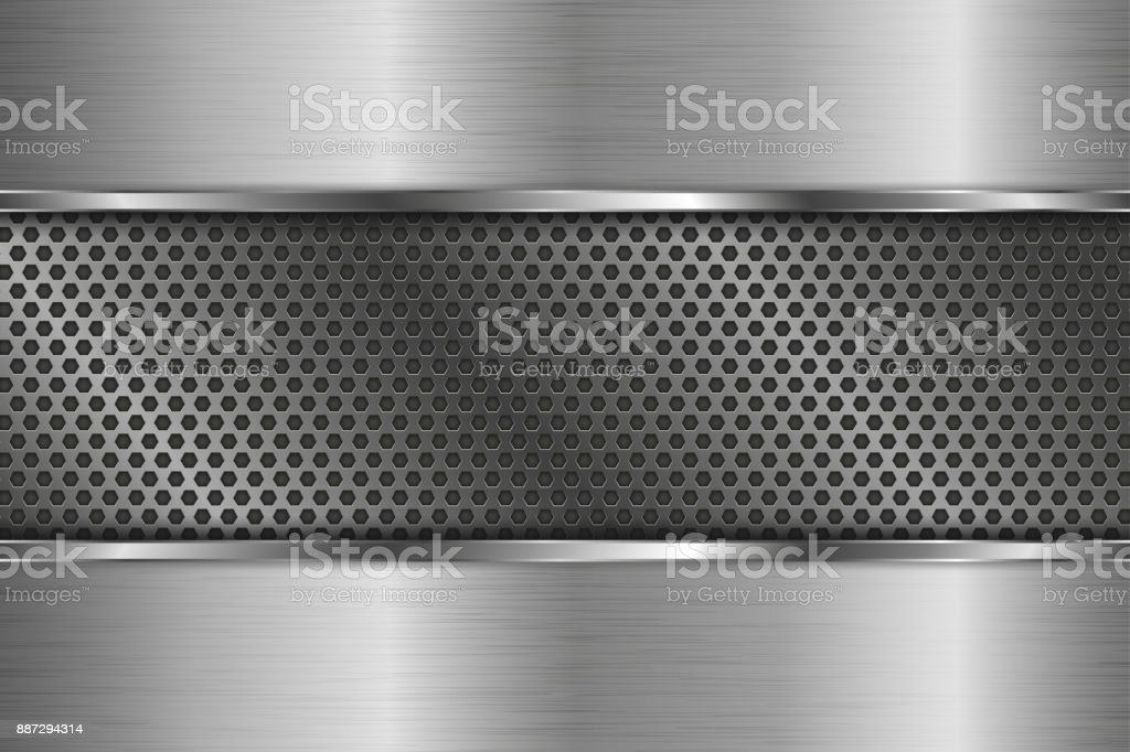 Metal background with perforated center vector art illustration