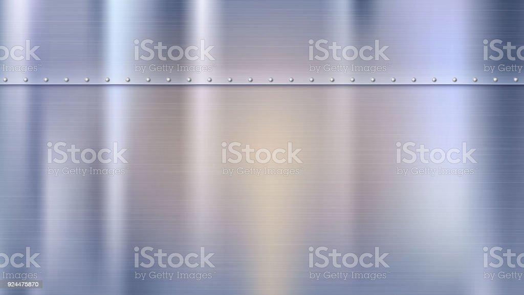 Fond métal avec texture et rivets. Feuilles de métal polis rivetées. Panneau avec reflets et réflexions floues. Modèle pour votre conception fond métal avec texture et rivets feuilles de métal polis rivetées panneau avec reflets et réflexions floues modèle pour votre conception vecteurs libres de droits et plus d'images vectorielles de acier libre de droits
