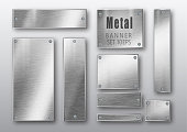 Metal banners set realistic. Vector Metal brushed plates with a place for inscriptions isolated on transparent background. Realistic 3D design. Stainless steel background