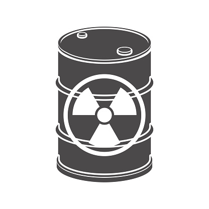 Metal barrel with a nuclear waste icon. Vector illustration.