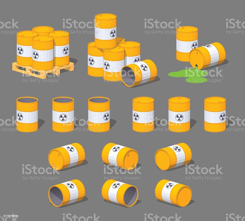 Metal barrels with the nuclear waste vector art illustration