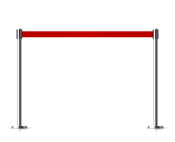 Metal barrier with a belt to control. vector art illustration
