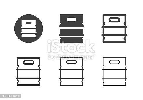Metal Beer Keg Icons Multi Series Vector EPS File.
