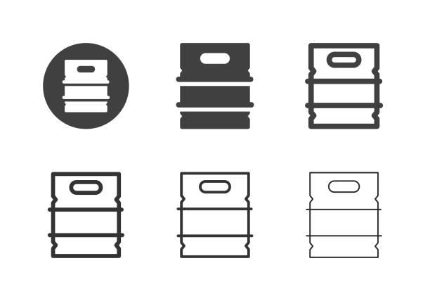 metall bier keg icons - multi-serie - bierfass stock-grafiken, -clipart, -cartoons und -symbole