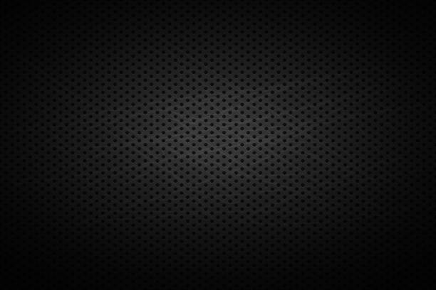 Metal black grid with holes . Vector background Metal grid with holes . Vector dark background . Steel iron cover. dark stock illustrations