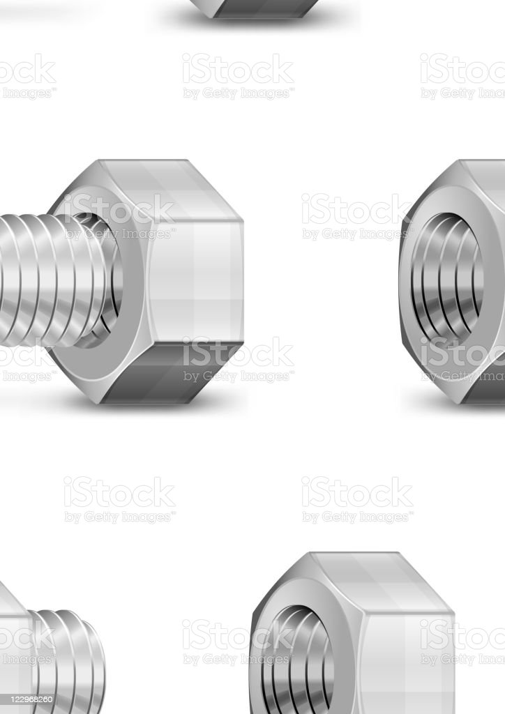 Metal Bolt and Nut royalty-free stock vector art