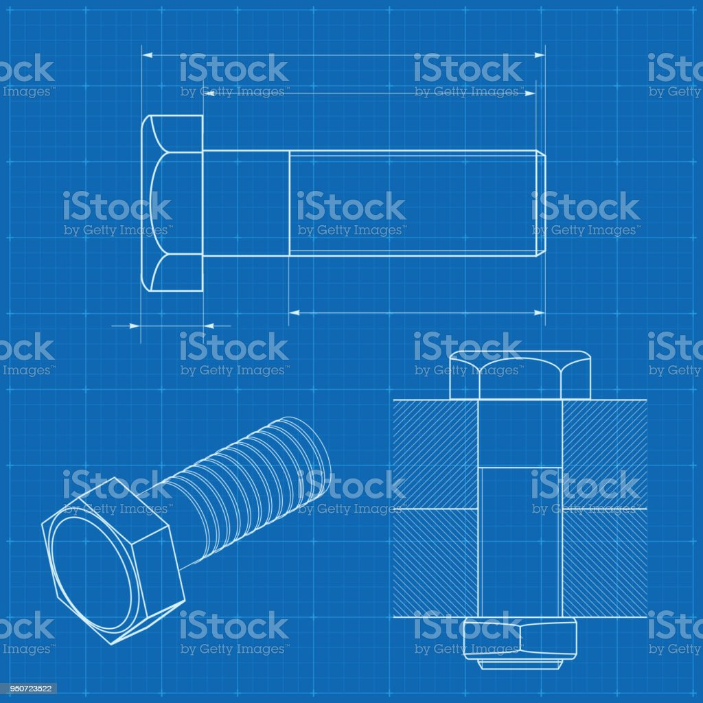 Technisches Zeichnen Metall Schraube Auf Blaupause Hintergrund Stock ...
