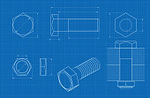 Metal bolt technical drawing on blueprint graph paper