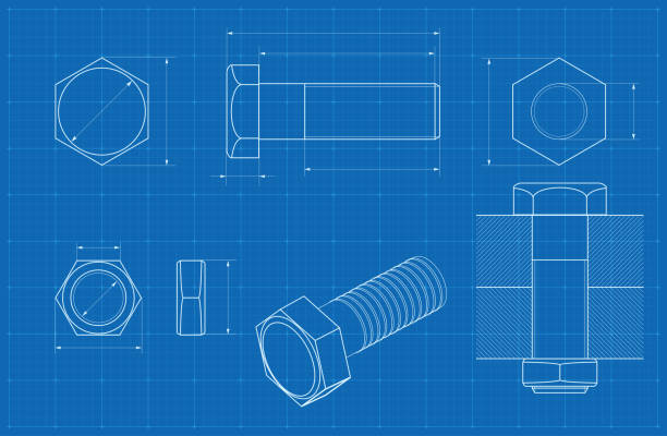 Metal bolt technical drawing on blueprint graph paper vector art illustration