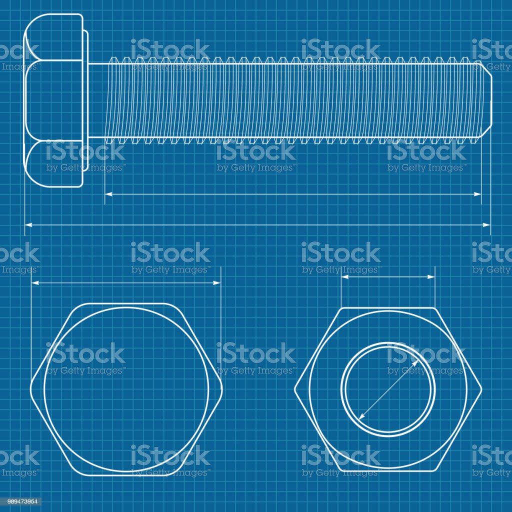 metal bolt technical drawing on blueprint graph paper stock vector