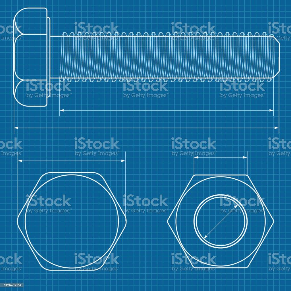 Metal bolt technical drawing on blueprint graph paper stock vector metal bolt technical drawing on blueprint graph paper royalty free metal bolt technical drawing on malvernweather Gallery