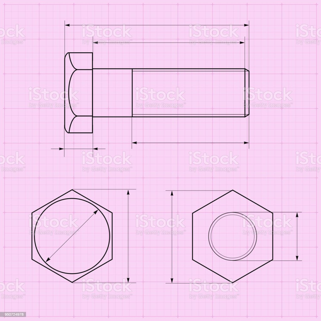 metal bolt technical drawing on graph paper stock vector art more