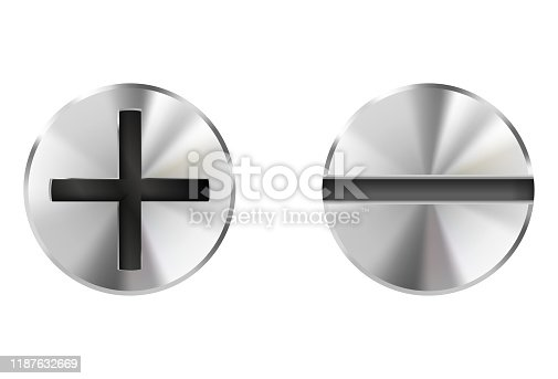 Metal bolts, slotted and philips heads. Vector 3d illustration isolated on white background