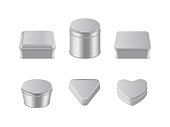 Metal box icon set. Square round triangle heart shaped metal boxes. Vector realistic illustration isolated on white background.