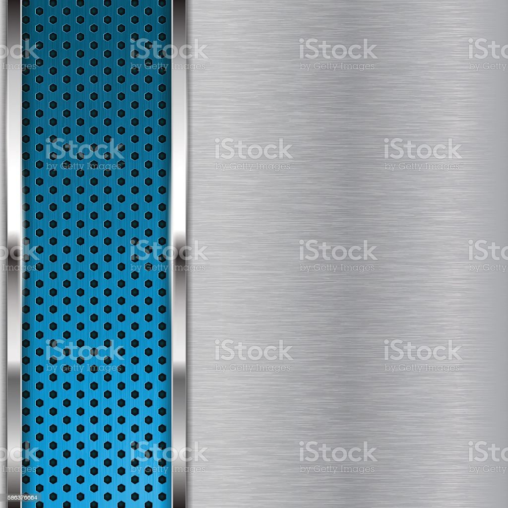 Metal brushed background with blue perforation vector art illustration