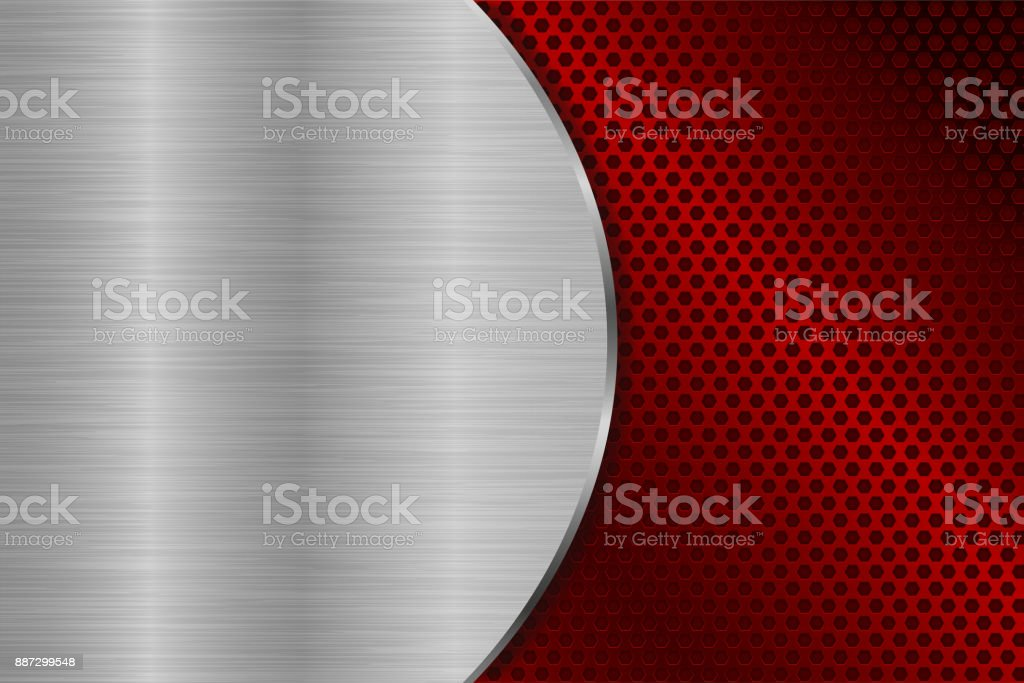Metal brushed background with red perforation vector art illustration