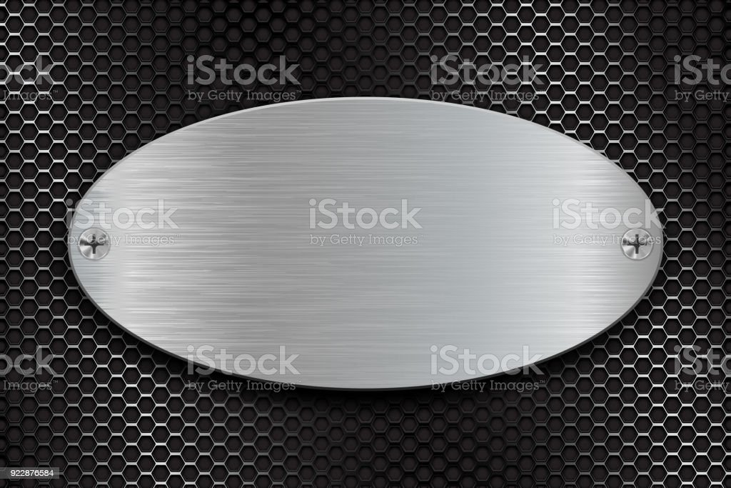 Metal brushed oval plate on perforated steel background vector art illustration