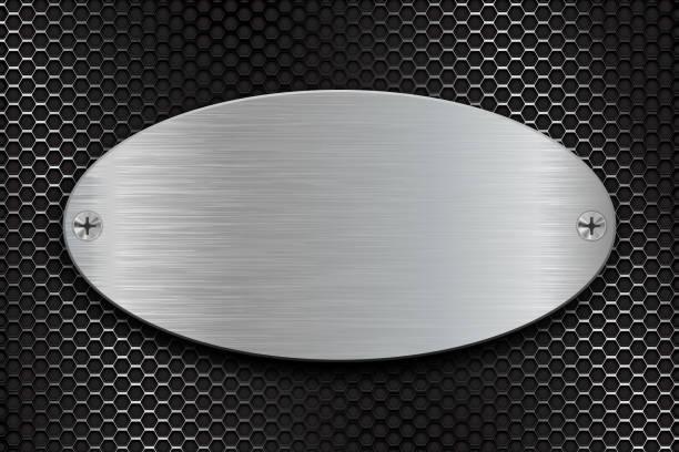 illustrations, cliparts, dessins animés et icônes de métal brossé plaque ovale sur fond acier perforé - acier