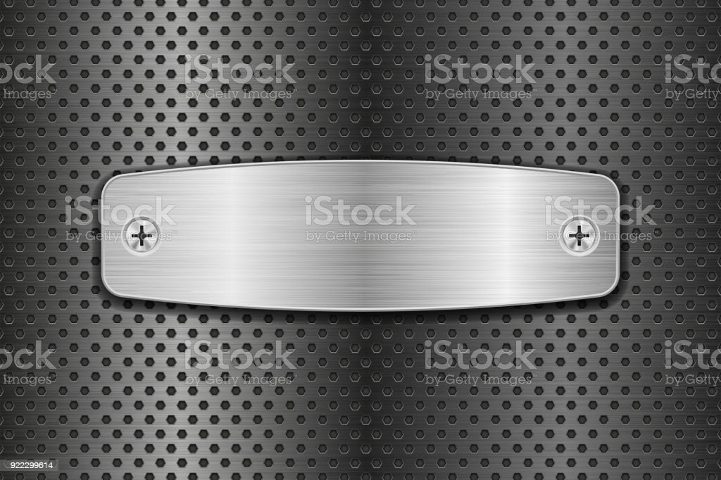 Metal brushed plate on perforated background vector art illustration