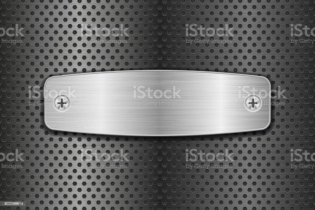Metal cepillado placa en fondo perforado - ilustración de arte vectorial