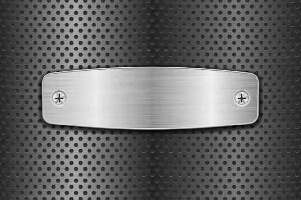 Metall gebürstet Platte auf perforierten Hintergrund – Vektorgrafik
