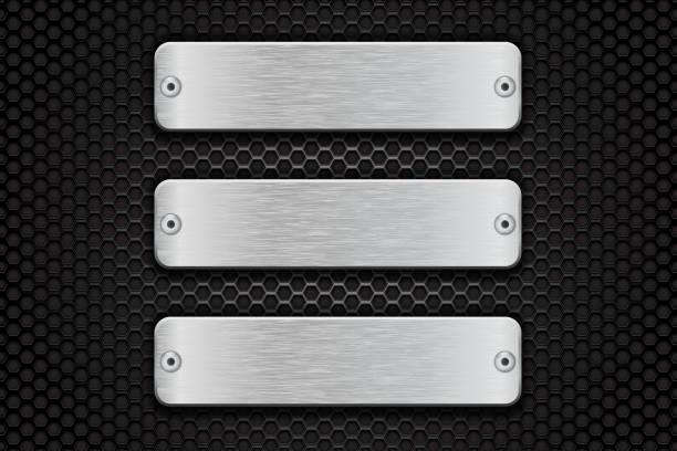 metal brushed plate on perforated dark steel background - metal stock illustrations