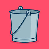 Metal bucket icon, sign or symbol for app