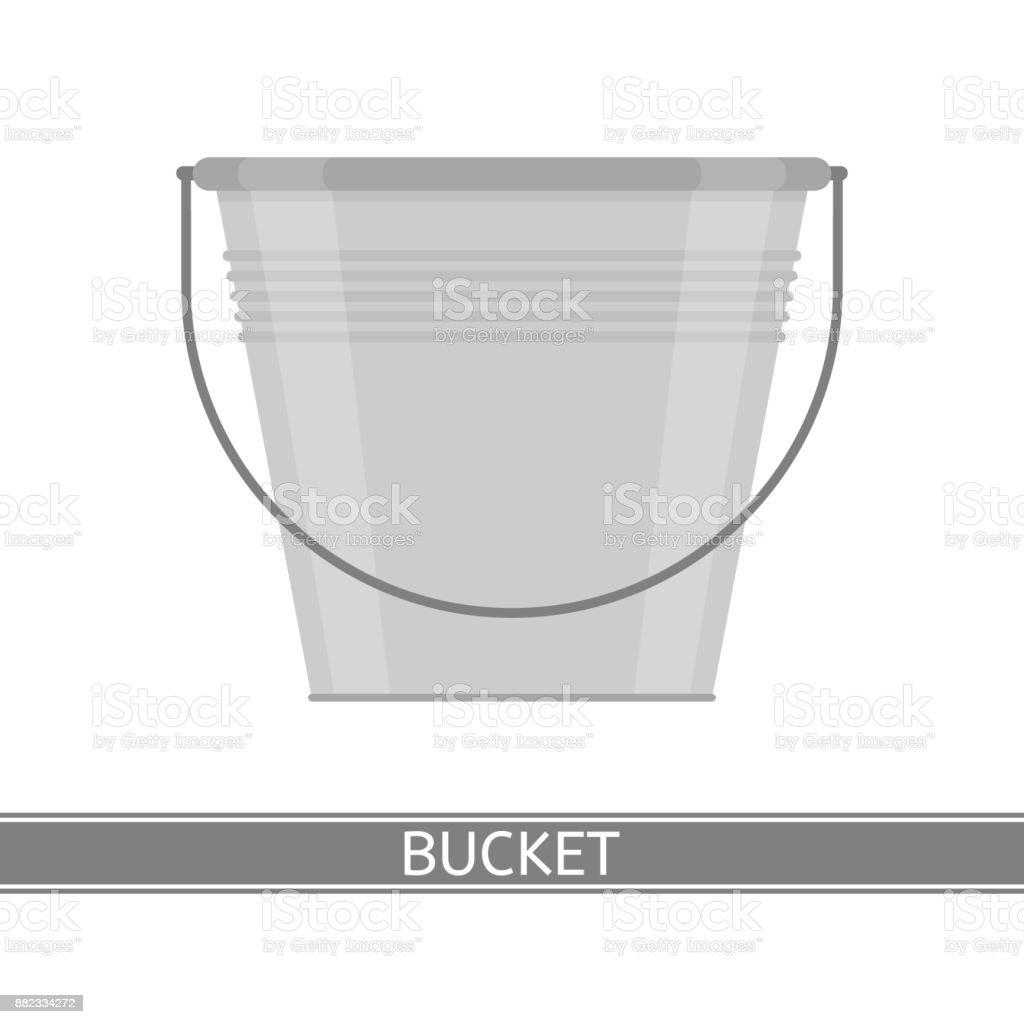 Metal Bucket Isolated vector art illustration