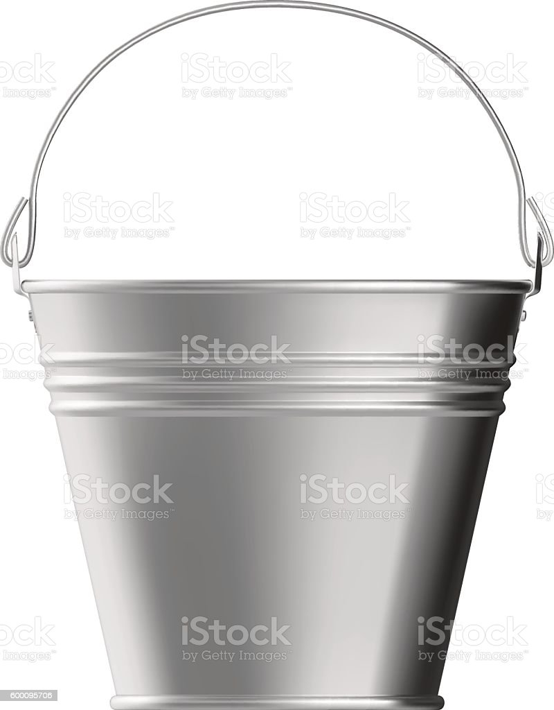 Metal bucket vector art illustration