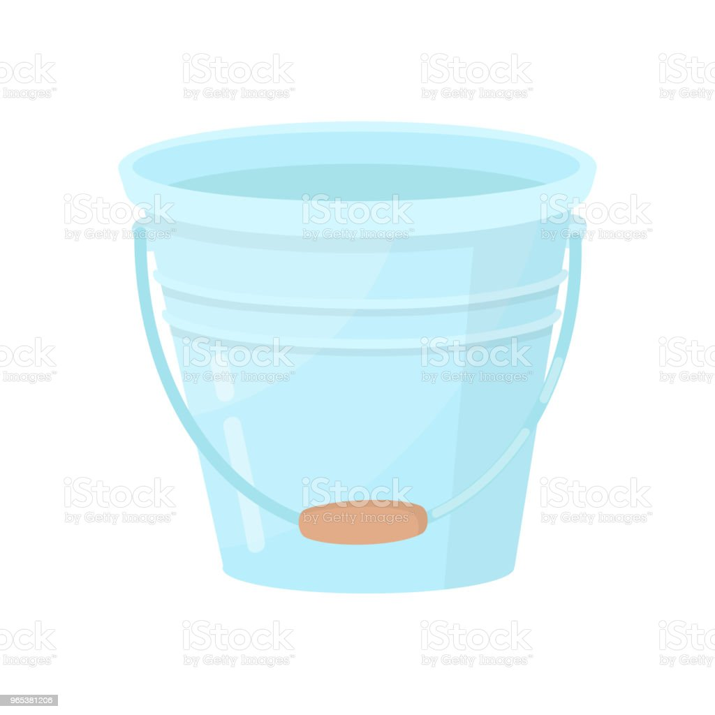 Metal bucket with wooden handle. Small blue water pail. Flat vector element for promo poster of cleaning company royalty-free metal bucket with wooden handle small blue water pail flat vector element for promo poster of cleaning company stock illustration - download image now