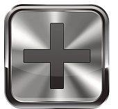 Metal button. With chrome frame. Zoom in icon