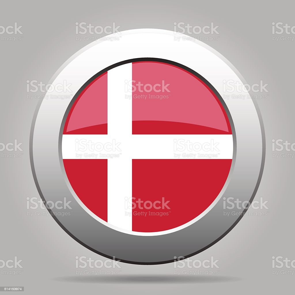 metal button with flag of Denmark vector art illustration