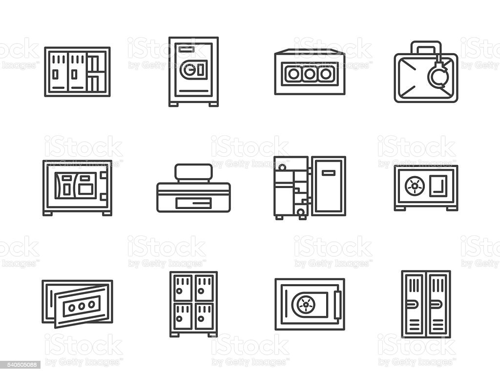 Metal cabinets and safes black line vector icons vector art illustration