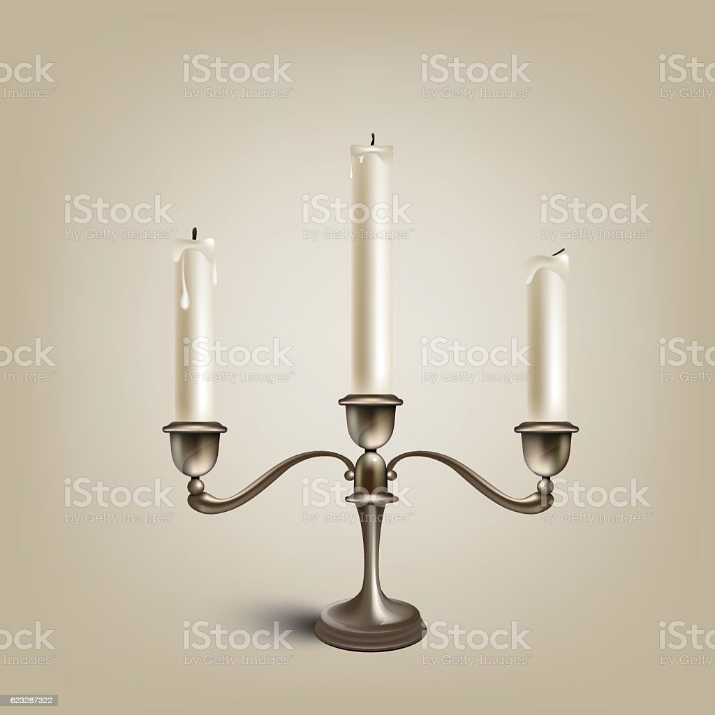 Metal candlestick with three  candles vector art illustration