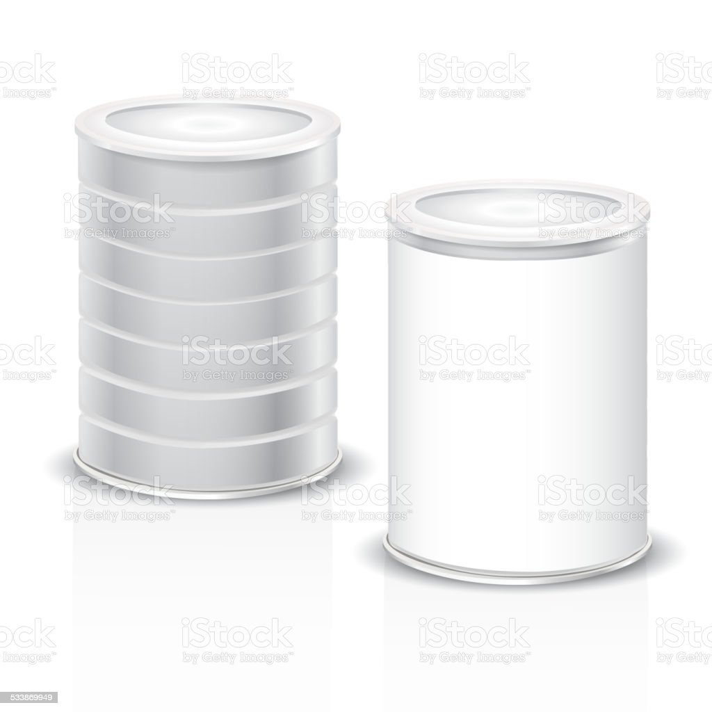 metal cans with blank label vector art illustration