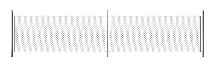 Metal chain link fence, segment of rabitz grid