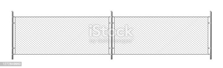 Metal chain link fence, segment of rabitz grid isolated on white background. Vector realistic illustration of steel wire mesh, security barrier for prison, military chainlink boundary