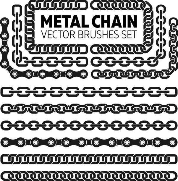 Metal chain links vector pattern brushes set Metal chain links vector pattern brushes set. Interlink border frame illustration bicycle chain stock illustrations