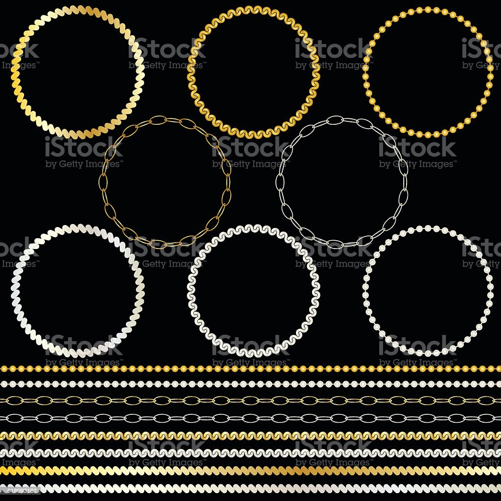 metal chains frames and borders vector art illustration
