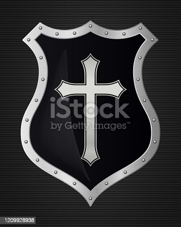istock Metal Christian Cross and Shield of Faith. Church Logo. Religious Symbol. Creative Christian Icon. Protection, Safety, Security Sign. Isolated on Dark Background 1209928938