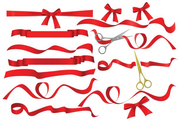 metal chrome and golden scissors cutting red silk ribbon. realistic opening ceremony symbols tapes ribbons and scissors set. grand opening inauguration event public ceremony. - ribbon sewing item stock illustrations