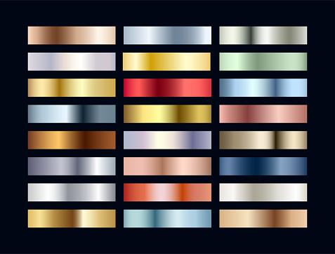 Metal chrome gradient color set. Metallic rose gold, bronze, silver, elegant red, deep blue, pistachio green, golden swatches palette. Vector shiny background collection for border, frame, web, design