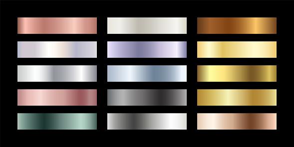 Metal chrome gradient color set. Metallic rose gold, bronze, silver, elegant pearl, midnight green, golden swatches palette. Vector shiny background collection for border, frame, label, flyer, design
