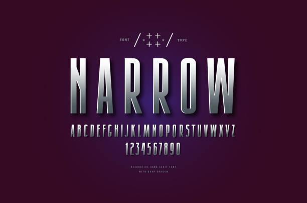 Metal chrome narrow sans serif font Stock vector silver colored and metal chrome narrow sans serif font. Letters for emblem and headline design narrow stock illustrations