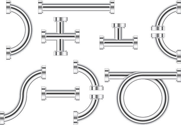 metal chrome pipes - flange stock illustrations, clip art, cartoons, & icons