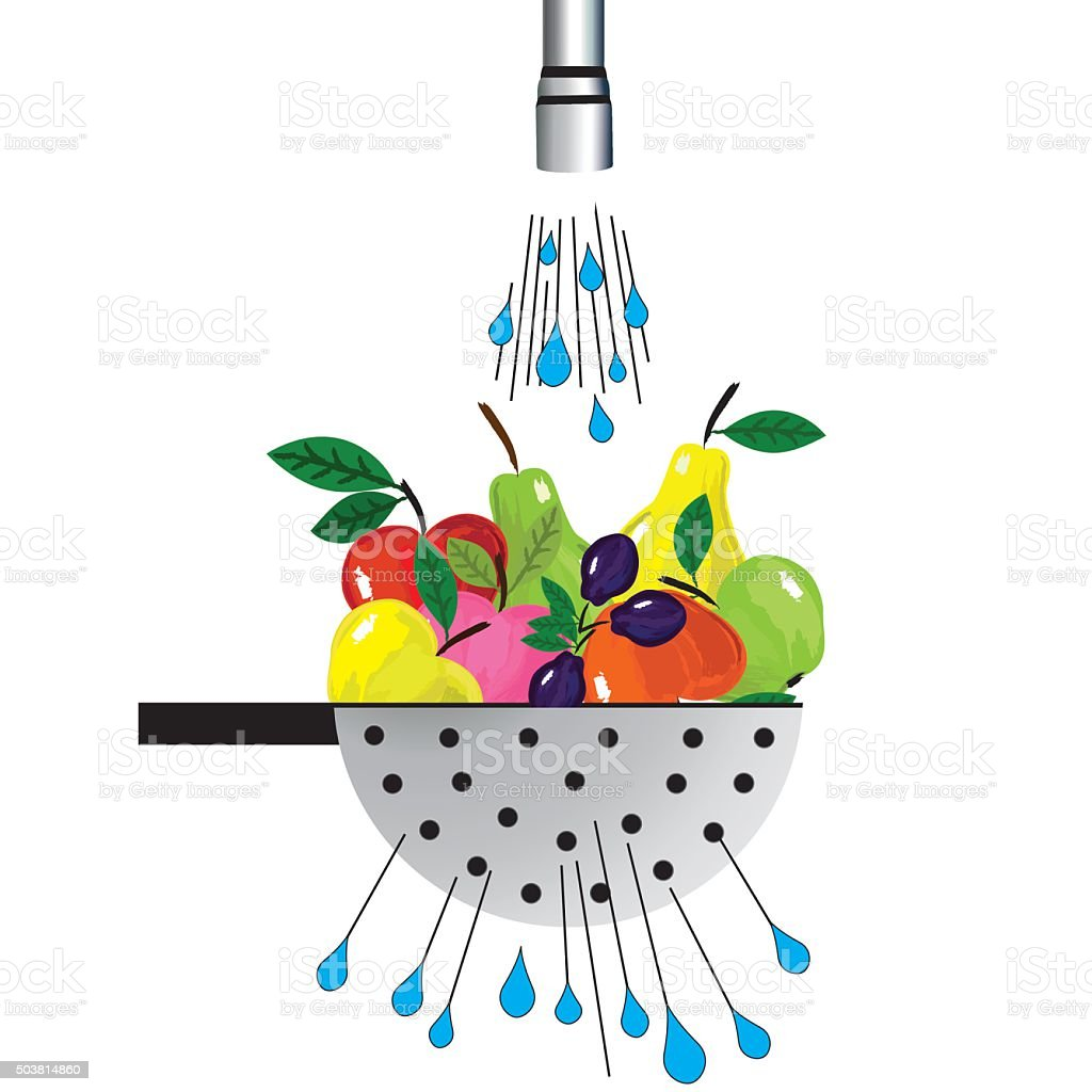 Metal colander and fruit. Illustration of colander with fruit under water vector art illustration