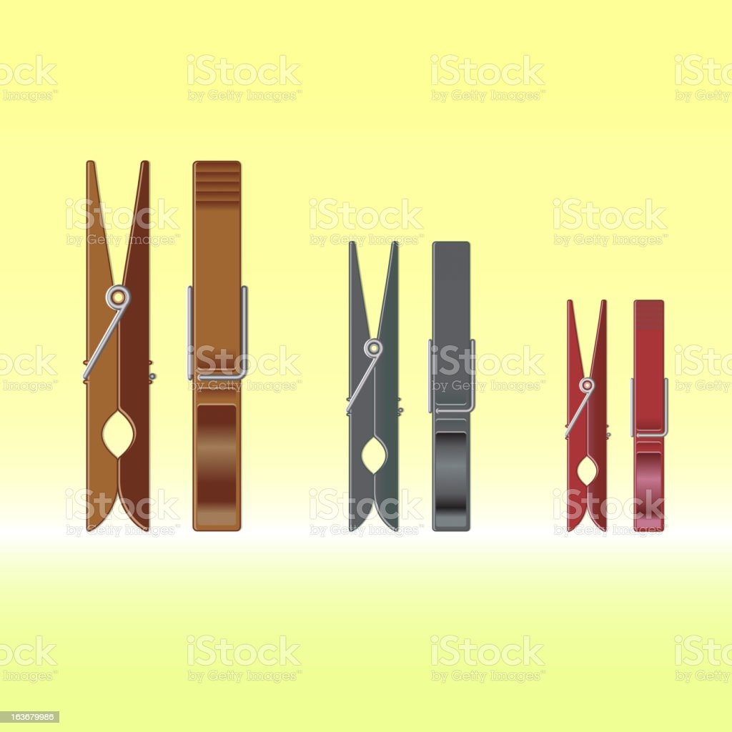 Metal colour clothes pin set on gradient background royalty-free stock vector art