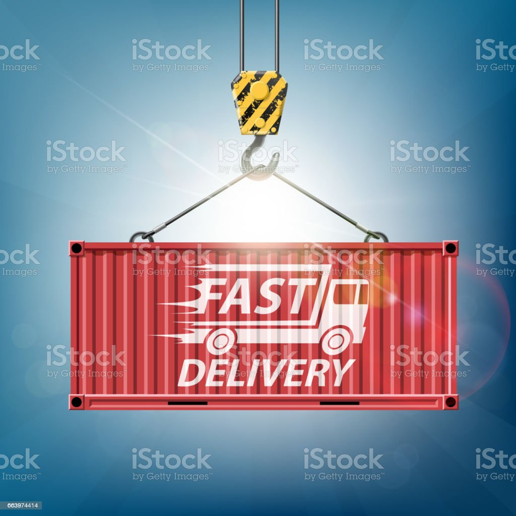 Metal container is hanging on the crane hook. Cargo delivery. vector art illustration