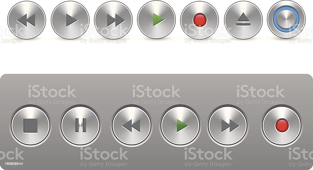 Metal Control Buttons royalty-free stock vector art